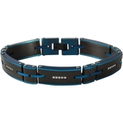 Stainless Steel with True Carbon Fiber & Blue IP with 3/8 CTW Diamond Bracelet