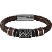 Stainless Steel with Brown Leather Bracelet