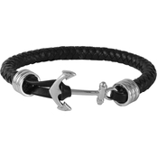Stainless Steel and Black Leather Bracelet with Anchor