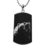 Stainless Steel & Bear Image Inlay with Carbon Fiber Dog Tag Pendant