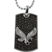 Stainless Steel Eagle with Cubic Zirconia Dog Tag Pendant