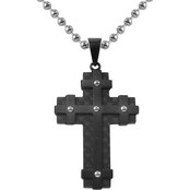 Stainless Steel & True Carbon Fiber with Blue Ion Plated Cross Pendant