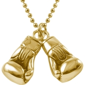 Stainless Steel Double Boxing Gloves Pendant with Yellow Ion Plating
