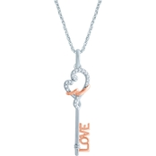 Loving Arms 10K Two-Tone Gold 1/10 CTW Love Key Pendant