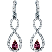 Robert Manse Designs Rhodium over Sterling Silver Gemstone Infinity Earrings