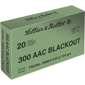 Sellier & Bellot .300 Blackout 124 Gr. FMJ, 20 Rounds