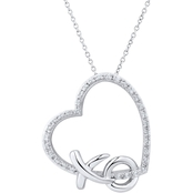 Sterling Silver 1/10 CTW Diamond XO Heart 18 in. Pendant
