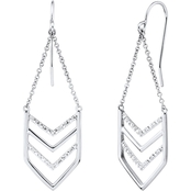 Sterling Silver 1/10 CTW Diamond Chevron Earrings