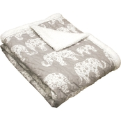 Lush Decor Elephant Parade Sherpa Throw
