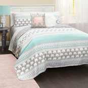 Lush Decor Elephant Stripe Quilt Set