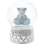 Reed & Barton Gingham Bear Silver Plated Musical Waterglobe by Lenox