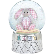 Reed & Barton Gingham Bunny Silver Plated Musical Waterglobe by Lenox