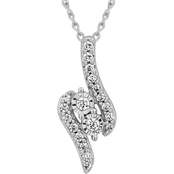 2 In Love Sterling Silver 1/10 CTW Two Stone Diamond Accent Pendant