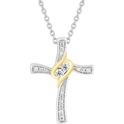 2 In Love Sterling Silver 1/4 CTW Two Stone Diamond Accent Cross Pendant