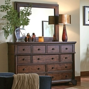 aspenhome Bancroft Collection Dresser and Leather Mirror
