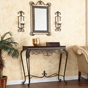 SEI Capshaw Console/Mirror/Sconce Pair 4 Pc. Set