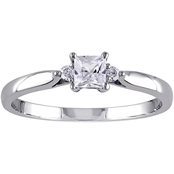 Sofia B. 10K White Gold Lab Created White Sapphire and Diamond Accent Promise Ring