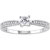 Sofia B. Sterling Silver Lab Created White Sapphire and Diamond Accent Promise Ring