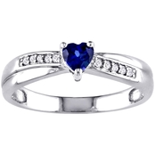 Sofia B. Sterling SilverLab Created Blue Sapphire and Diamond Accent Heart Ring