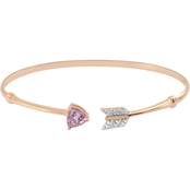 14K Rose Gold Over Sterling Silver Pink Quartz and Created White Sapphire Bangle