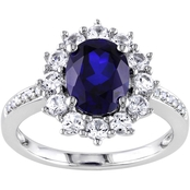 Sofia B. Sterling Silver 4 CTW Created Blue and White Sapphire Diamond Halo Ring