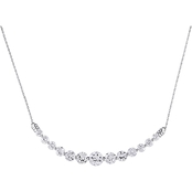 Sofia B. 10K White Gold 17 In. 5 CTW Created White Sapphire Necklace