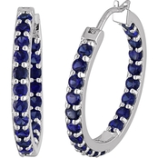 Sofia B. Sterling Silver 3 3/5 CTW Created Blue Sapphire Hoop Earrings