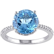 Sofia B. 10K White Gold 4 1/2 CTW Swiss Blue Topaz and Diamond Accent Ring