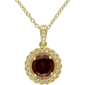 Sofia B. Gold Over Sterling 1/10 CTW Diamond Accent and Garnet Halo Pendant