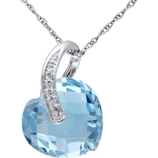 Sofia B. 10K White Gold 6 1/2 CTW Sky-Blue Topaz and Diamond Accent Heart Pendant