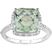 Sofia B. 10K White Gold 4 CTW Green Amethyst and 1/10 CTW Accent Diamond Halo Ring