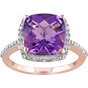 Sofia B. 10K Rose Gold 3 1/2 CTW Amethyst and 1/10 CTW Diamond Accent Halo Ring