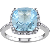 Sofia B. 10K White Gold 5 1/4 CTW Sky Blue Topaz and 1/10 CTW Diamond Halo Ring