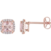 Sofia B. 10K Rose Gold Morganite and 1/10 CTW Diamond Accent Halo Earrings