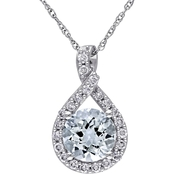 Sofia B. 10K White Gold Aquamarine and 1/5 CTW Diamond Accent Teardrop Pendant
