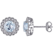 Sofia B. Sterling Silver 1/10 CTW Diamond and Blue Topaz Halo Stud Earrings
