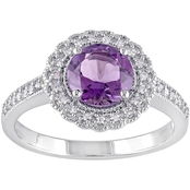 Sofia B. Sterling Silver 1/8 CTW Diamond and Amethyst Halo Ring