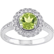Sofia B. Sterling Silver 1/8 CTW Diamond and Peridot Halo Ring