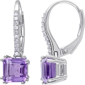 Sofia B. Sterling Silver Amethyst and 1/10 CT TW Diamond Earrings