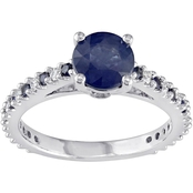 Sofia B. 14K White Gold 1/5 CTW Diamond and Sapphire Ring