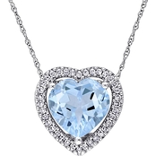 Sofia B. 10K White Gold 1/5 CTW Diamond and 4 1/3 CTW Blue Topaz Heart Pendant