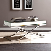 Southern Enterprises Ava Mirrored Cocktail Table, Chrome