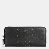 COACH Slim Pebble Leather Accordion Wallet with Bandana Rivets