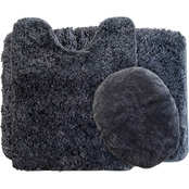 Lavish Home 3 Pc. Plush Non-Slip Bath Mat Rug Set