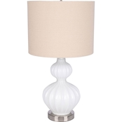 Simply Perfect White Ribbed Glass Table Lamp