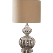 Simply Perfect Silver Ribbed Mercury Glass Table Lamp