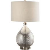 Simply Perfect 24.5 in. Silver Mercury Glass Tear Drop Table Lamp