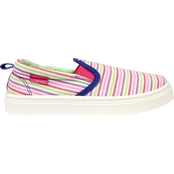 Oomphies Little Girls Stripe Slip On Canvas Shoes