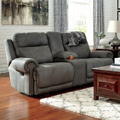 Ashley Austere Reclining Console Loveseat