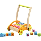 Classic World Toys Wood Baby Walker with Blocks